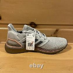 Adidas Men's UltraBoost 20 FV4389 Grey and Signal Coral Running Shoes Size 10.5