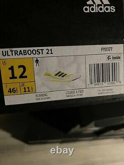 Adidas Ultra Boost 21 Men's size 12 Cloud White Yellow Black $180 Sold out