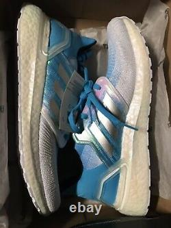 Adidas Ultra boost 20 Men's size 12 White Cyan Blue $180 Sold Out